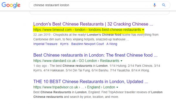 Chinese Restaurant London Google SERP