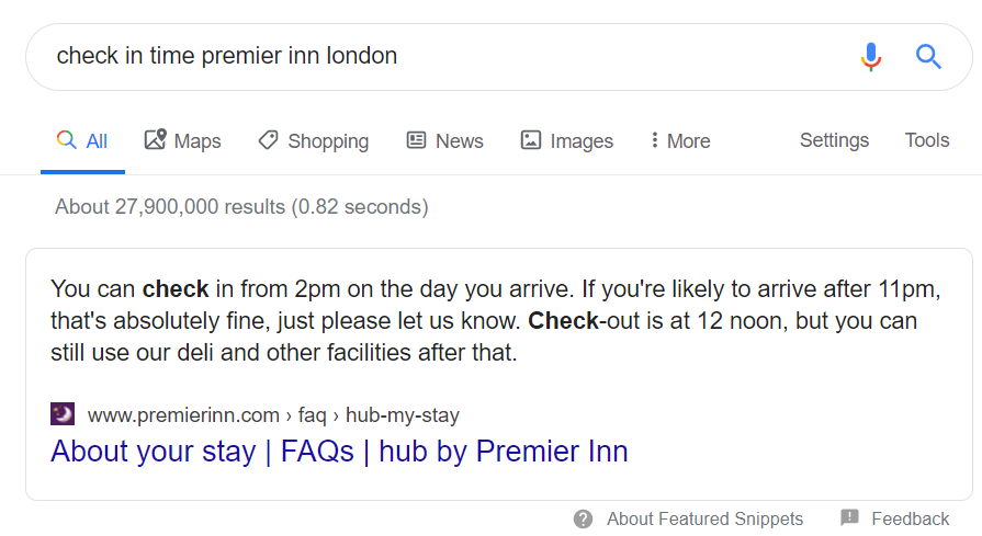 travel SEO featured snippets