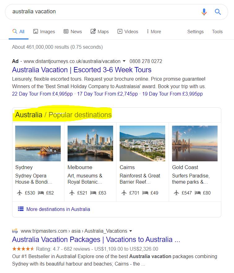 travel SEO popular destinations