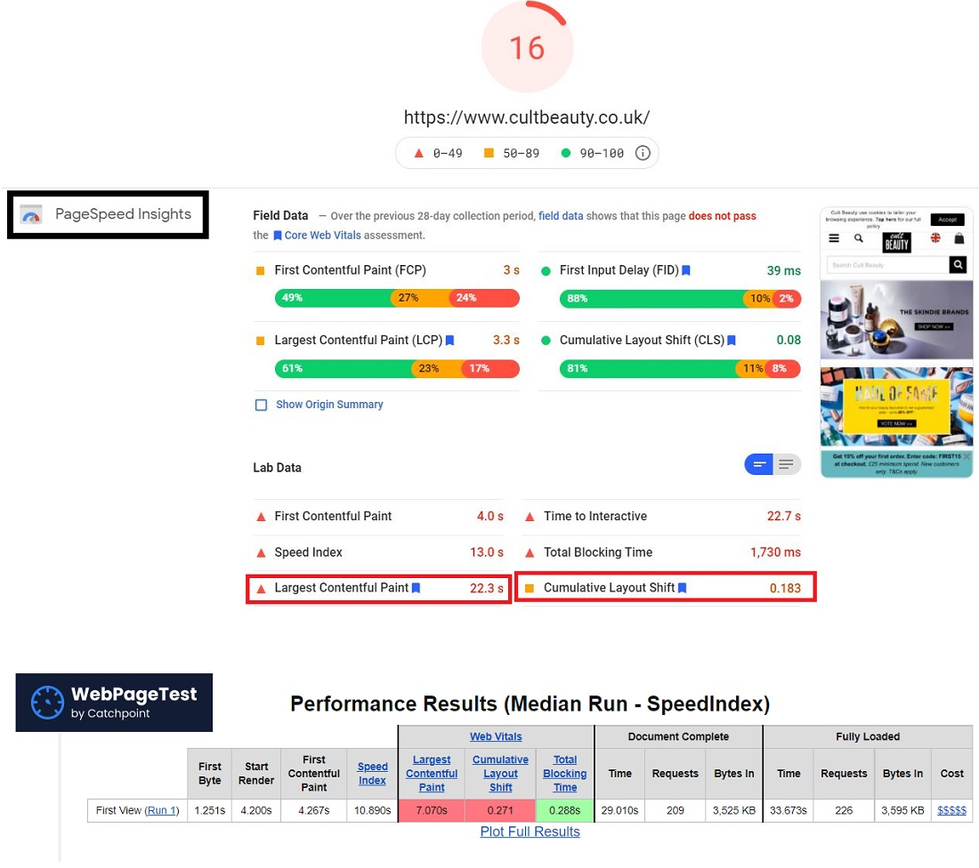core web vitals page speed insights webpagetest