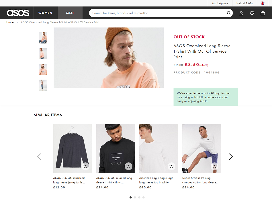 asos out of stock product seo