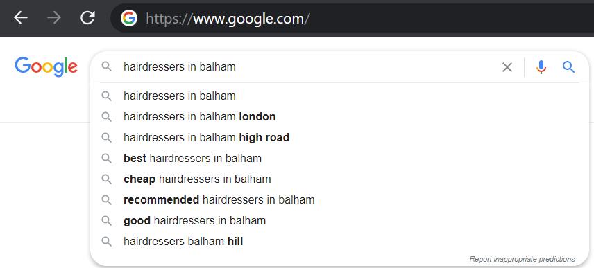 Google autosuggest local SEO keyword research
