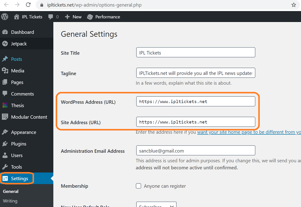 wordpress domain URL settings