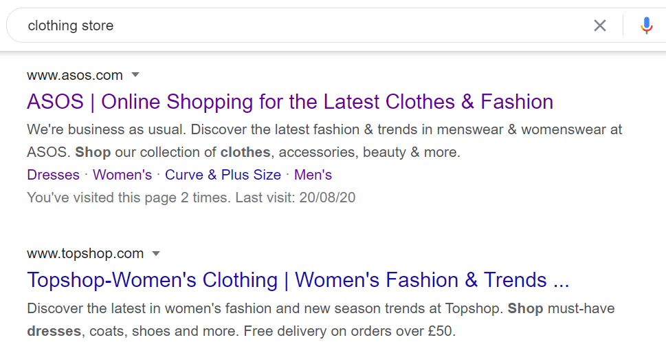 clothing store seo serp