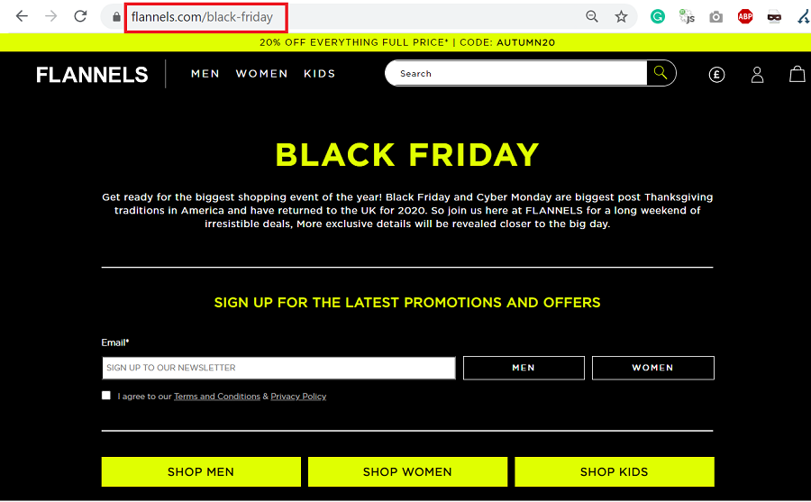 black friday seo landing page url