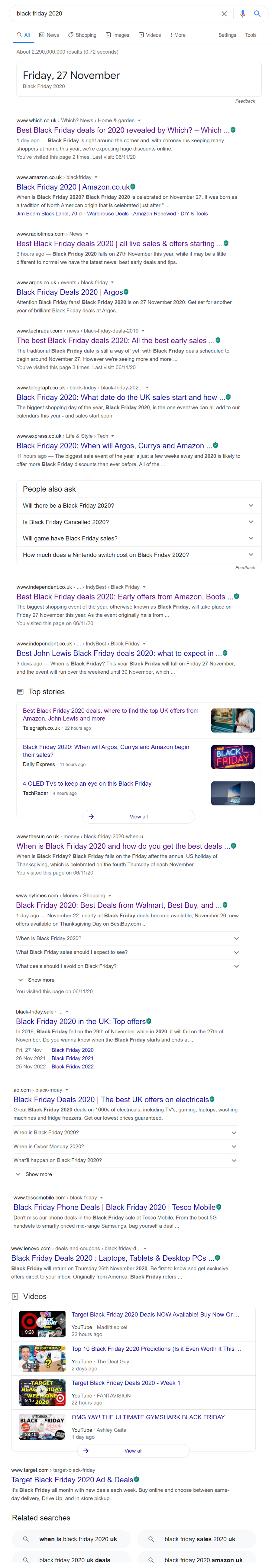 Black Friday Deals SERP Landscape