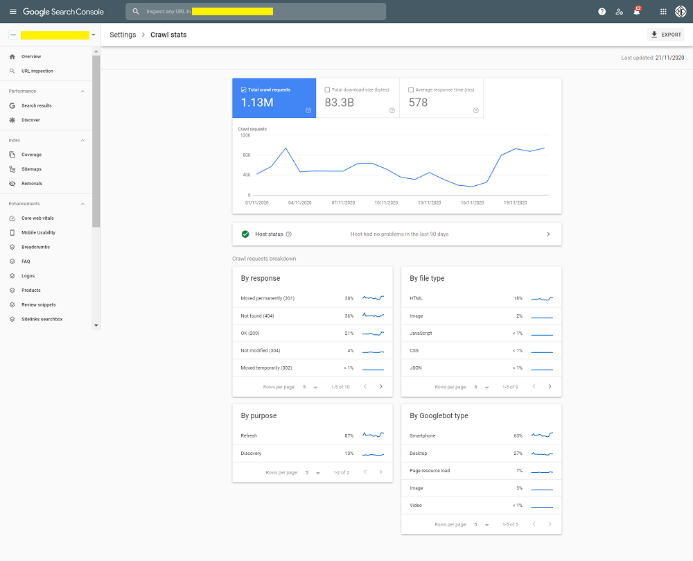 new google search console stats report